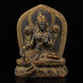 西藏寺院收老纯手工彩绘描金黑石雕刻绿度母一尊