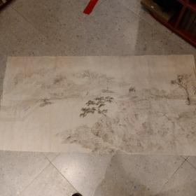 徐钢画室出无款国画山水 终身 保真 约8平尺 5