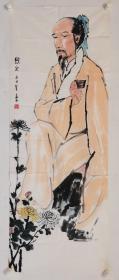 将兆和:软片,纸张自然老旧,泛黄边缘有少许残缺,如图。将兆和:现代人物画家,是现代卓越的人物画家和美术教育家。他在传统中国画的基础上融合西画之长,创造性的拓展了中国水墨人物画的技巧,其造型之精谨,表现人物内心世界之深刻,在中国人物画史上达到了一个新的高度。曾任南京国立中央大学(国立中央大学1949年更名为南京大学)、中央美术学院教授。