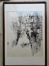 安徽著名画家 郭公达山水画一幅,尺寸68*45厘米,保真!