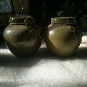黄釉老茶罐一对