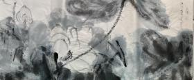 (书法字画),【张大千】 :二十世纪中国画坛最具传奇色彩的国画大师,无论是绘画、书法、篆刻、诗词都无所不通。早期专心研习古人书画,特别在山水画方面卓有成就。,三尺写意....尺寸:100*50厘米