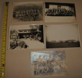 侵华日军 照片 5枚(日军集合照 日军战车部队行进)