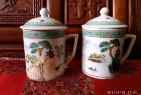 70/80年代景德镇手绘茶杯一对11986