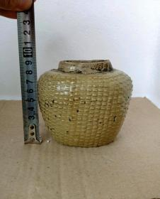 黄釉鱼篓罐13724