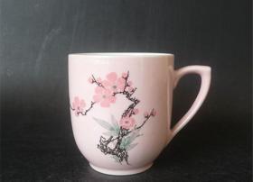 景德镇建国瓷厂/颜色釉/桃红釉梅花杯14804