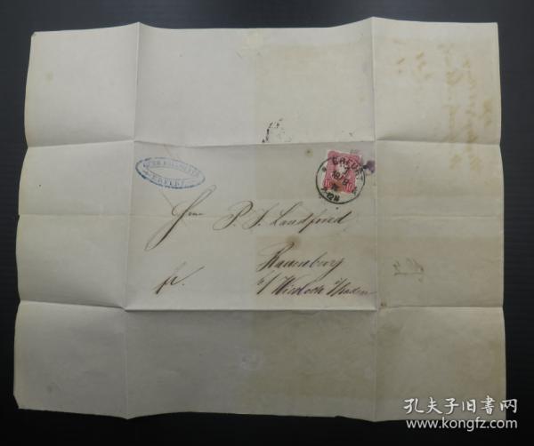 1876年8月18日德國(埃爾福特寄維斯洛赫)實寄郵簡貼郵票、銷3個戳(67)