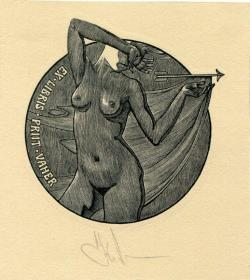 Konstantin Kalinovich藏書票之持箭的裸女