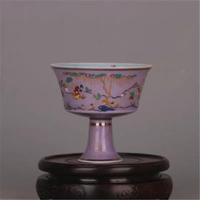 暗雕手工裝飾收藏  斗彩高腳杯酒杯