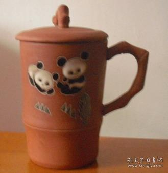 文革   老   紫砂    熊貓    茶杯
