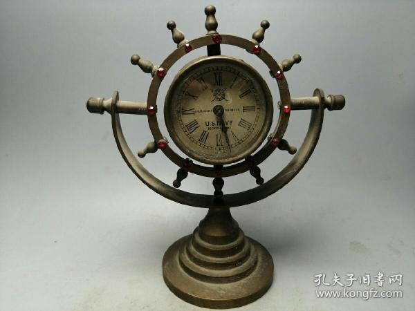 歐式純銅古典機械鐘表船舵座鐘擺件