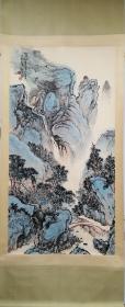 魏紫熙山水画立轴,包老包手绘。
