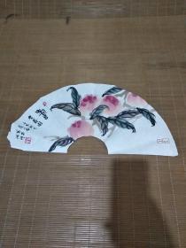 卢小南画扇面——贺寿图