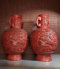 收藏剔紅漆器手工雕大龍紋瓶一對 高30厘米