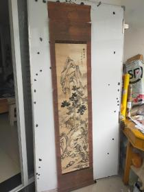 约民国时期老画  山水画立轴 作者不识 品相较差 尺寸136x34