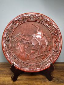 收藏剔紅漆器賞盤松鶴延年屏風擺件直徑30厘米