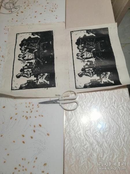 文革題材的版畫,兩幅內容一樣,背面有黃色,正面品好,合售。