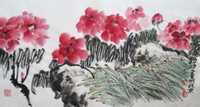 理勤功 花鸟横幅(国色天香)手绘国画作品