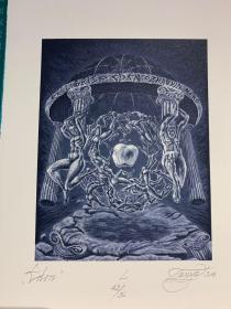 保加利亚 坦妮娅·克鲁斯塔娃 Tanya krusteva石版 版画 藏书票 原作《伊甸园》