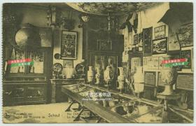 民国天主教圣心会,中国博物馆内景,展览的品类有瓷器,照片,牌匾,丝绸刺绣,宫灯等,民国老明信片一张