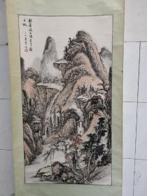 苏州知名女画家钱蓉蓉国画立轴一幅,画芯尺寸65*87.5CM