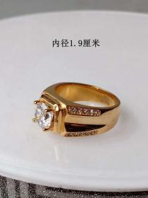 少見的天然寶石鑲鉆K金戒指 .