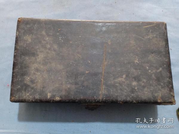 (庫)晚清木包皮盒,匣子,拜匣,32*18*8.5cm,有點爆皮