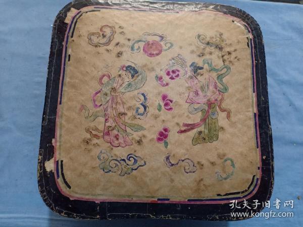 (库)清代 手绘 年画  仙女散花,纸盒,28*28*19cm