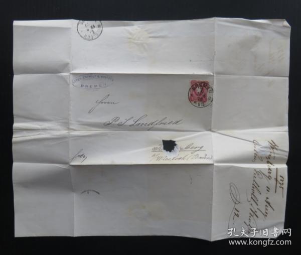 1875年8月11日德國(不萊梅寄維斯洛赫)實寄郵簡貼郵票、銷3個戳(65)