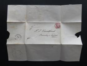1877年8月18日德國(維斯洛赫)實寄郵簡貼郵票、銷2個戳(63)