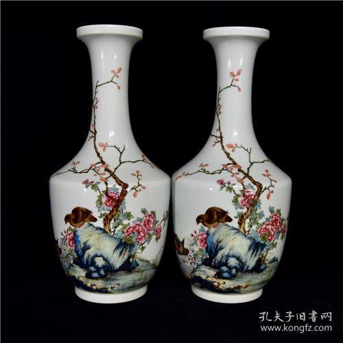 清雍正粉彩花鳥紋盤口瓶26LY