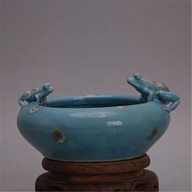 藍釉雕刻青蛙筆洗