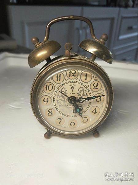 早期德國技術雕花鏤空北極星小鬧鐘,