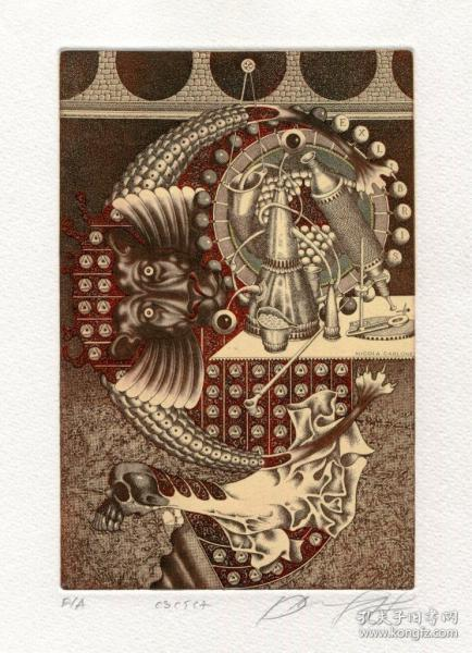 Juri Jakovenko雅科文科藏書票之獅子座與Vanitas
