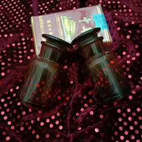 舊藏:一對棕色玻璃瓶(完整潔凈,手感舒適)