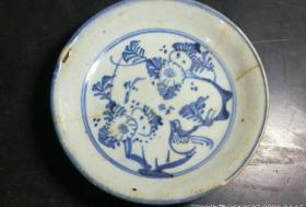 早期青花盘18454