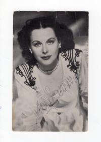 """最美科学家 """"WiFi之母"""" 海蒂拉玛 Hedy Lamarr 1947年亲笔签名明信片"""