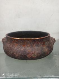 老铜香炉   铜香炉   10年前收的老铜香炉   尺寸长宽高:18/14/6厘米。