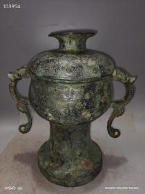 双耳龟盆,重12.4斤..*.铜的