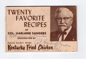 肯德基创始人 KFC 哈兰德·桑德斯 Harland Sanders 1962年亲笔签名 肯德基餐厅食谱册子 罕见载体