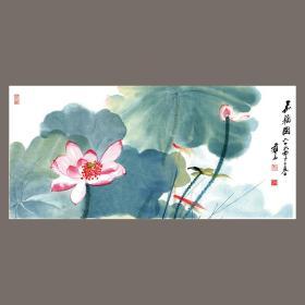 张大千  嘉藕图  中国画名画真迹高清微喷复制装饰临摹学习