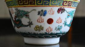 景德镇彩绘二龙夺宝茶碗21680