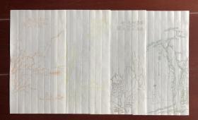 清末民国 吴观岱 清秘阁 山水笺 四张一套 信笺 笺纸 木版水印 诗笺 木板水印