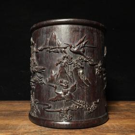 农村收淘的旧货乌木雕刻笔筒,雕工精湛 生动形象 包浆浑厚 古朴雅致