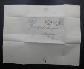 1881年6月9日荷蘭(阿姆斯特丹寄德國巴登)實寄郵簡貼郵票、銷3個戳(72)