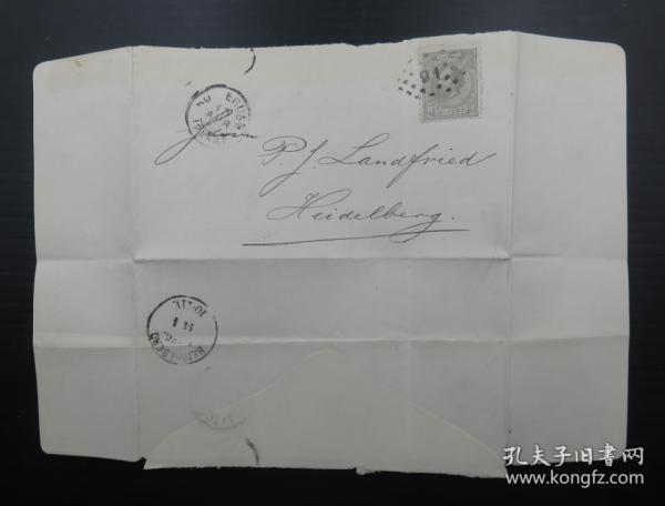 1877年4月13日荷蘭(鹿特丹寄海德堡)實寄郵簡貼郵票、銷4個戳(71)