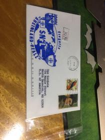 外國信封,海軍封,徽章,藍色,2001,20190819