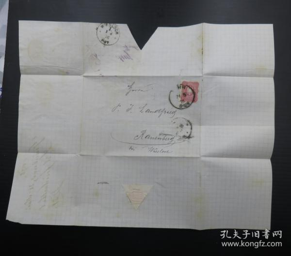 1876年5月21日德國(維斯洛赫)實寄郵簡貼郵票、銷3個戳(68)
