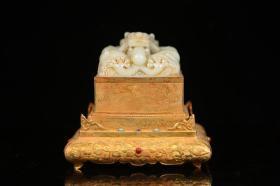 清代、大和田玉包銅鎏金龍紋鈕璽式四方印章