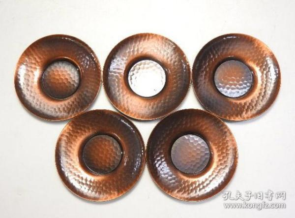 ▲日本純銅制淺錘紋茶托5枚 回流古董茶道具茶盞托子茶盤茶承銅器